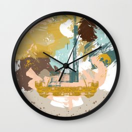 Suspicious Actions, Abstract Landscape Art Wall Clock