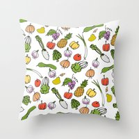 vegetable Throw Pillows featuring Vegetable Garden by AmiDolls