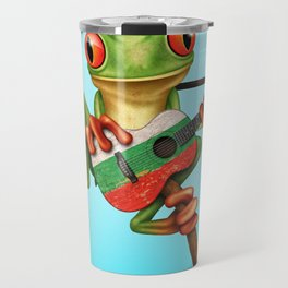 Tree Frog Playing Acoustic Guitar with Flag of Bulgaria Travel Mug