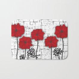 Poppies red n white background . Bath Mat