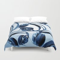 headphones Duvet Covers featuring Headphones (Blue) by darylrbailey