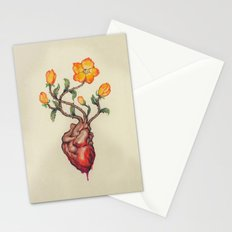 THIS BLEEDING BLOSSOMING HEART: ORANGE WILD ROSE Stationery Cards