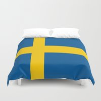 sweden Duvet Covers featuring Flag of Sweden by Neville Hawkins