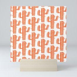 Mid Century Modern Desert Cactus Pattern 827 Orange Mini Art Print