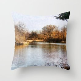 Woods Lake - Shelbyville, IL Throw Pillow