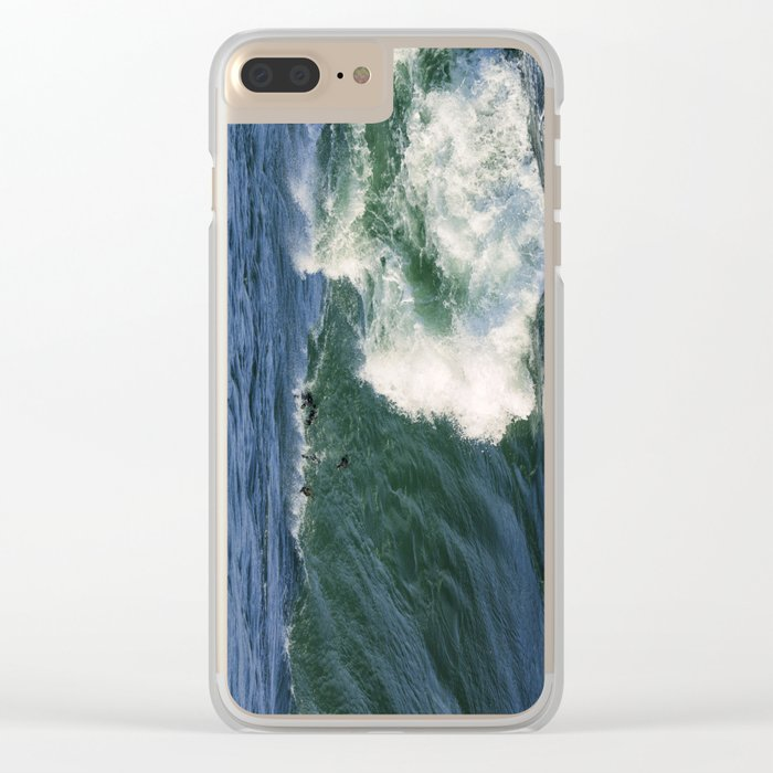 Ducks riding a wave Clear iPhone Case
