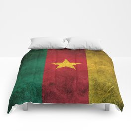 Old and Worn Distressed Vintage Flag of Cameroon Comforters