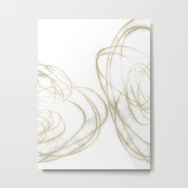 Beige and Brown Minimalist Abstract Line Drawing 2 Metal Print
