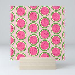 Watercolor Pink Watermelon Pattern Mini Art Print
