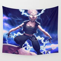x men Wall Tapestries featuring Storm X Men 80's Punk Rock by Brian Hollins art