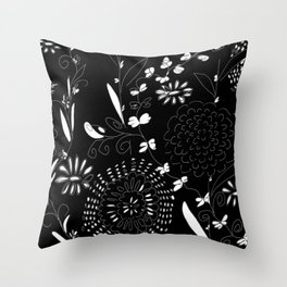 black toile by cocoblue Throw Pillow