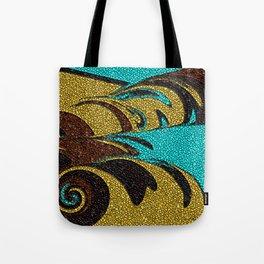 Aqua, Brown, and Gold Mosaic Tote Bag