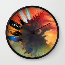Colour Puddle with Polygon Wall Clock