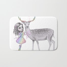 Deer and the child Bath Mat