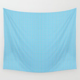 Oktoberfest Bavarian Blue and White Small Gingham Check Wall Tapestry