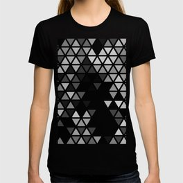 Geometric Fractal Triangles Black Noir T-shirt