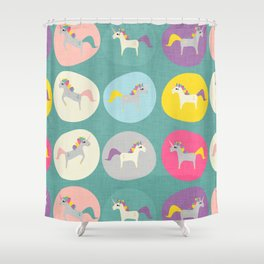 Cute Unicorn polka dots teal pastel colors and linen texture #homedecor #apparel #stationary #kids Shower Curtain