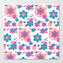 Teal Blue, Hot Pink, and Coral Floral Canvas Print