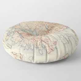 Map of Acadia National Park, Maine (1942) Floor Pillow