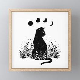 Night Garden Cat Framed Mini Art Print
