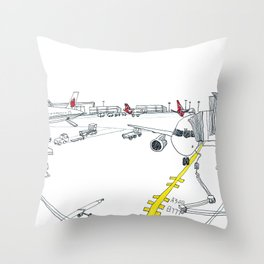 Airplane in London Throw Pillow
