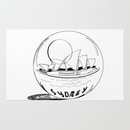 Sydney in a glass globe . artwork Rug
