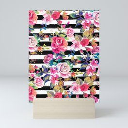 Cute spring floral and stripes watercolor pattern Mini Art Print