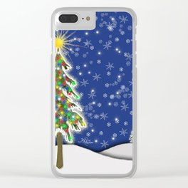 Lighted Christmas Tree at Night with Snowflakes Clear iPhone Case
