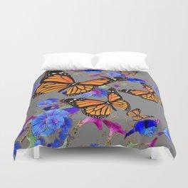 MONARCH BUTTERFLIES & BLUE MORNING GLORIES Duvet Cover