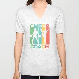 Vintage 1970's Style Cheer Coach Cheerleading Graphic Unisex V-Neck