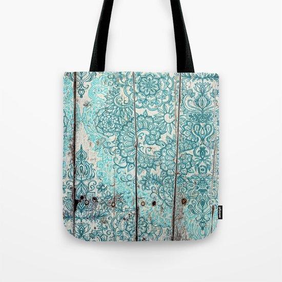 Teal & Aqua Botanical Doodle on Weathered Wood Tote Bag