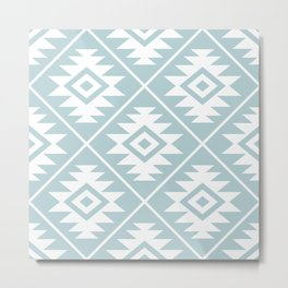 Aztec Symbol Ptn White on Duck Egg Blue Metal Print