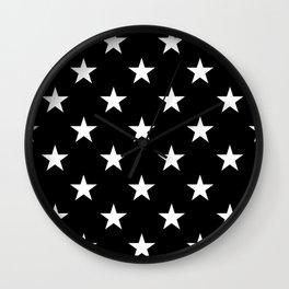 Stars (White/Black) Wall Clock