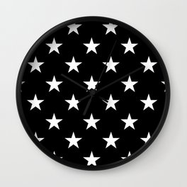 Stars (White/Black) Wall Clock