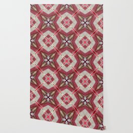 Holiday Red, Cream and Gold Burlap Plaid Pattern Wallpaper