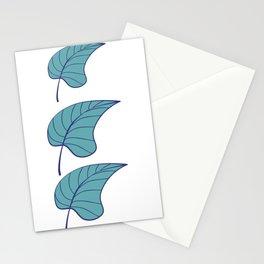 Pastal Palm Blue Leaf Stationery Cards