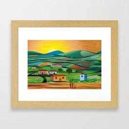 Sunset over Fields Framed Art Print