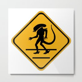 Alien Crosswalk Sign 1 Metal Print