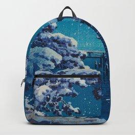 Tsuchiya Kôitsu Japanese Woodblock Vintage Print Blue Winter Snow Pagoda On Lake Backpack