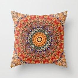Indian Summer I - Colorful Boho Feather Mandala Throw Pillow