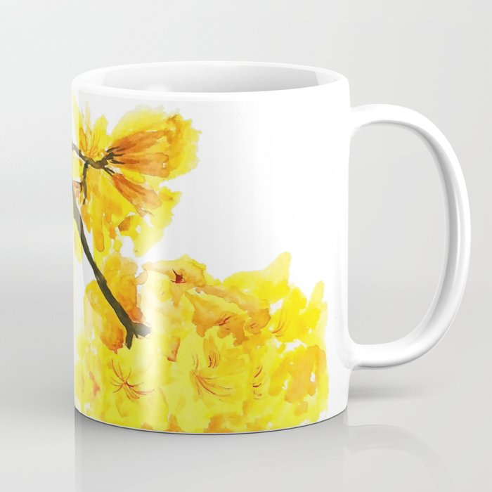 Yellow trumpet trees watercolor yellow roble flowers yellow tabebuia yellow trumpet trees watercolor yellow roble flowers yellow tabebuia coffee mug mightylinksfo