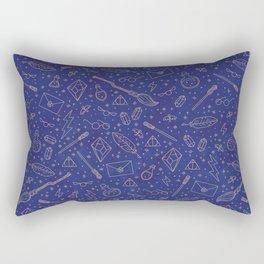 Yer a Wizard - Blue + Bronze Rectangular Pillow