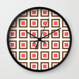 Chocolate Brown + Coral: Pattern No. 13B Wall Clock