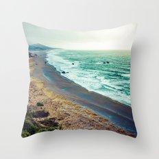Ocean Waves - Blue Beach in California Throw Pillow