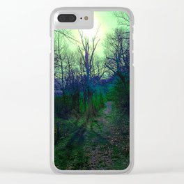 Green Fog Forest Clear iPhone Case