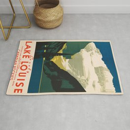Lovely Lake Louise vintage travel ad Rug