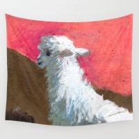 alpaca Wall Tapestries featuring Alpaca Sunset by J Han