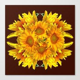 YELLOW SUNFLOWERS CHOCOLATE GARDEN ART Canvas Print