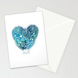 White Inked Floral Heart - Blues Stationery Cards