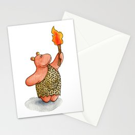 Fire baby! A cute caveman hippo illustration Stationery Cards